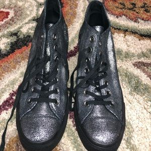Converse All Star Black Sparkle Wedges